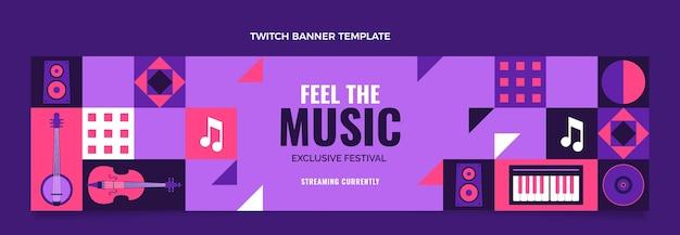 Banner de twitter de festival de música de diseño plano