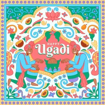 Banner de ugadi dibujado a mano