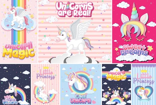 Banner de unicornio lindo en color de fondo pastel