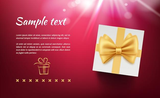 Banner de vacaciones con cajas de regalo. cartel con paquete y lazo de cintas con lugar para su texto
