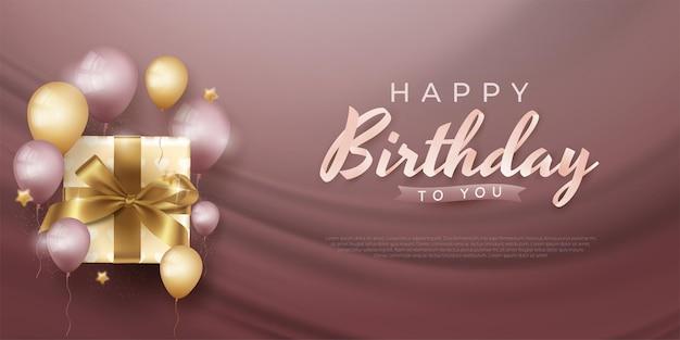 Banner de vacaciones de feliz cumpleaños con globos realistas y cajas de regalo