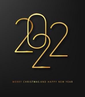 Banner de vacaciones con logo dorado de año nuevo 2021. tarjeta de felicitación navideña. diseño de vacaciones para tarjetas de felicitación, invitaciones, calendario, etc.