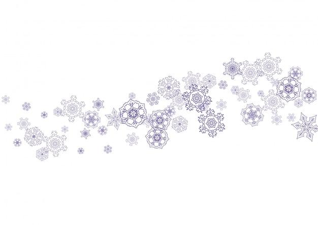 Banner de vacaciones de navidad y año nuevo de copos de nieve