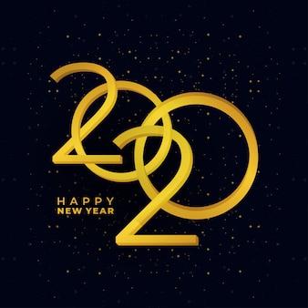 Banner de vacaciones de oro feliz año nuevo 2020