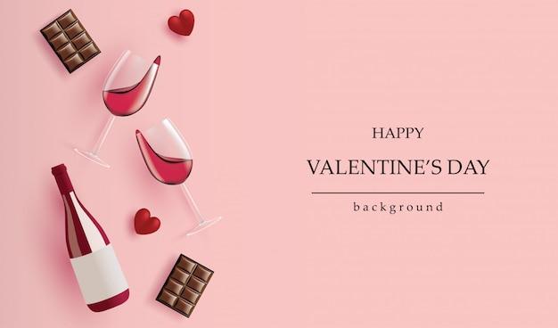 Banner de vacaciones de san valentín. botella de vino realista, copa de vino, chocolate y corazón rojo en rosa para tarjetas de felicitación, encabezados y sitio web.