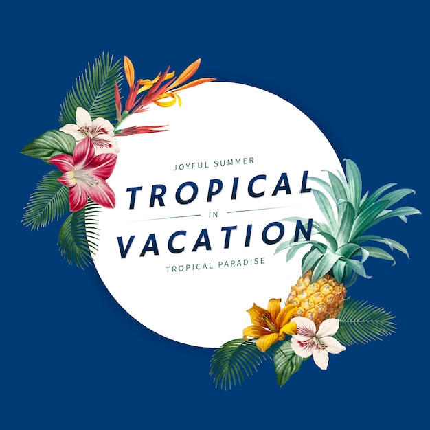 Banner de vacaciones tropicales