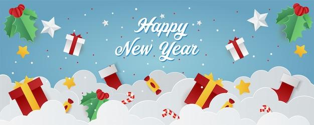Banner de vacaciones para la venta de compras de año nuevo con elementos navideños