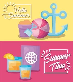 Banner de vacaciones de verano con ancla y pasaporte