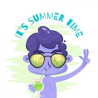 Banner de vacaciones de verano con hombres