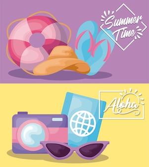 Banner de vacaciones de verano con sandalias y pasaporte