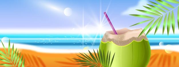 Banner de vacaciones de verano tropical con playa, coco verde, océano, hojas de palma.