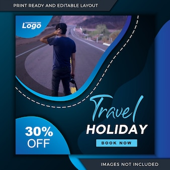 Banner de vacaciones de viaje para instagram y plantilla de publicación de redes sociales.