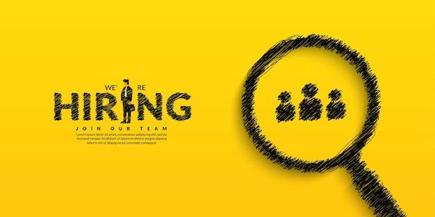 Banner de vacante de trabajo mínimo para publicación social estamos hring fondo con lupa de garabatos