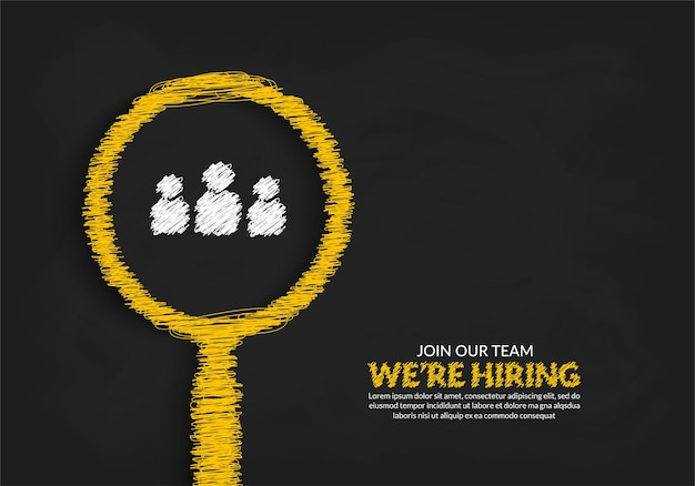 Banner de vacante de trabajo mínimo para redes sociales estamos hring fondo con lupa de garabatos