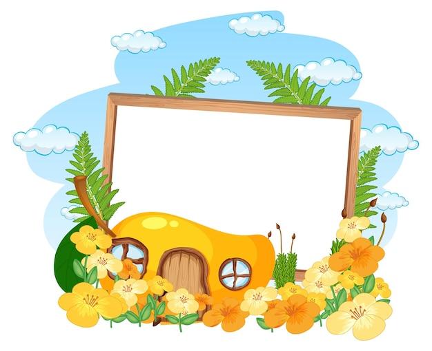 Banner vacío con casa de mango de fantasía y muchas flores.