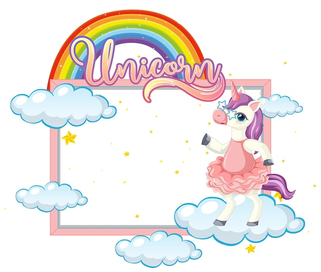 Banner vacío con lindo personaje de dibujos animados de unicornio sobre fondo blanco