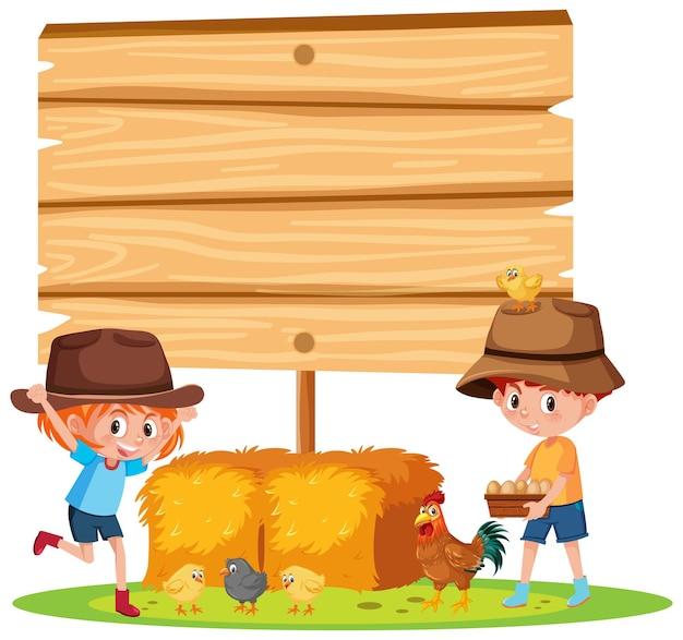Banner vacío con niños y granja de animales sobre fondo blanco.