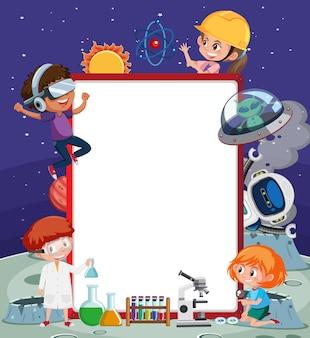 Banner vacío con niños en tema de tecnología.