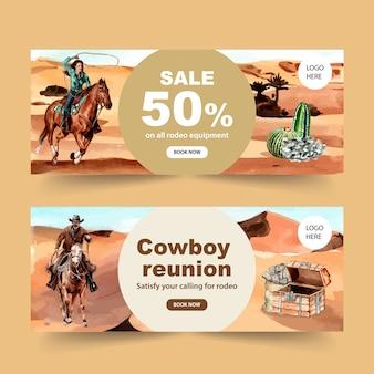 Banner de vaquero con caballo, cactus, cofre, dinero