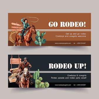 Banner de vaquero con caballo, hombre, cactus