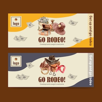 Banner de vaquero con chaleco, silla de montar, cofre, dinero, diadema