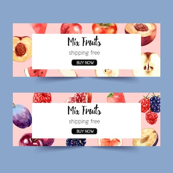 Banner con varias frutas concepto, plantilla de ilustración acuarela