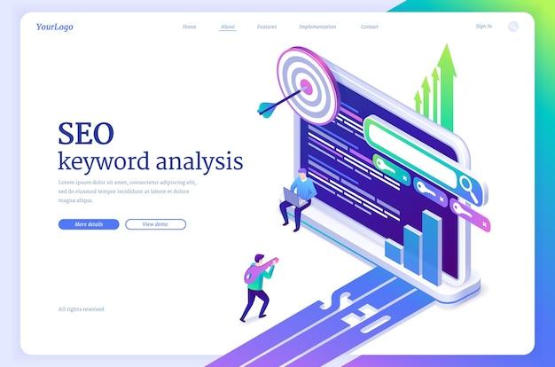 Banner de vector de análisis de palabras clave seo