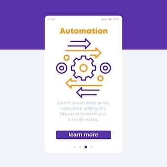 Banner de vector de automatización con icono de línea