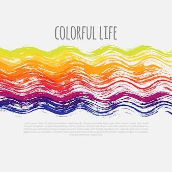 Banner de vector colorido brillante vector banner de vector de plantilla colorida con líneas onduladas de colores