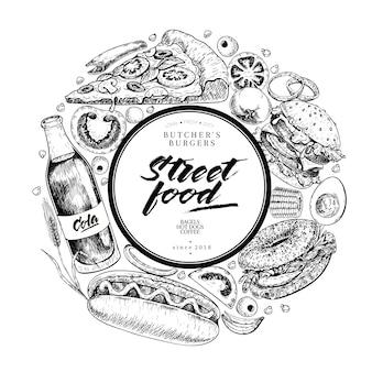 Banner de vector de comida rápida dibujado a mano