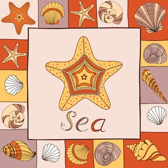Banner de vector con conchas, estrellas de mar y lugar para su texto