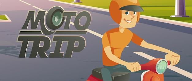 Banner de vector de dibujos animados de hombre montando bicicleta moto viaje