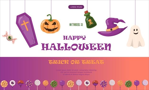 Banner de vector para el diseño de plantillas de dibujos animados de halloween para anuncios, ventas, invitaciones a fiestas
