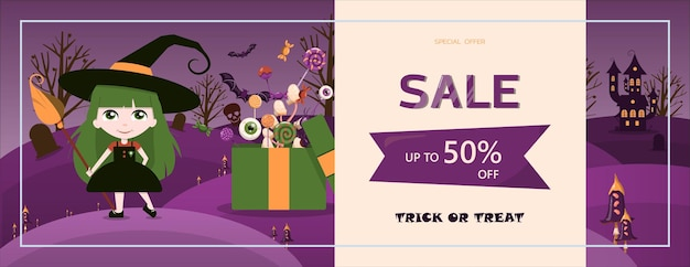 Banner de vector para el diseño de plantillas de dibujos animados de halloween para publicidad, ventas, invitaciones a fiestas. listo para el diseño plano de halloween imágenes lindas brillantes para el día de todos los santos el 31 de octubre