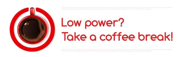 Banner de vector de energía de café con vista superior de la taza
