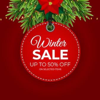 Banner de vector de etiqueta roja de venta de invierno para promoción minorista de temporada