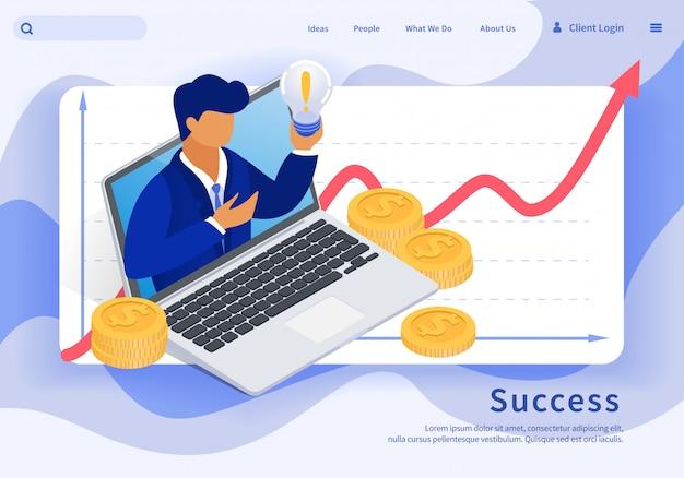 Banner vector de éxito en la financiación de la idea isométrica.