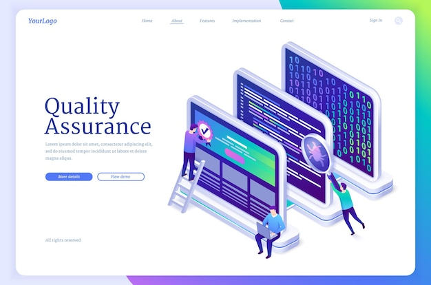 Banner de vector de garantía de calidad de software qa