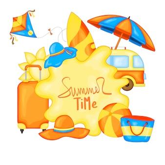 Banner de vector de horario de verano