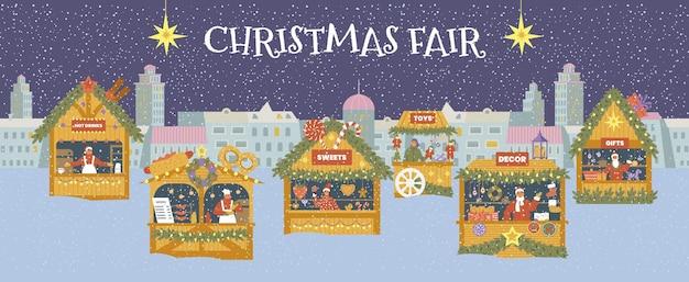Banner de vector horizontal feria de navidad. paisaje de noche de invierno con diferentes tiendas.