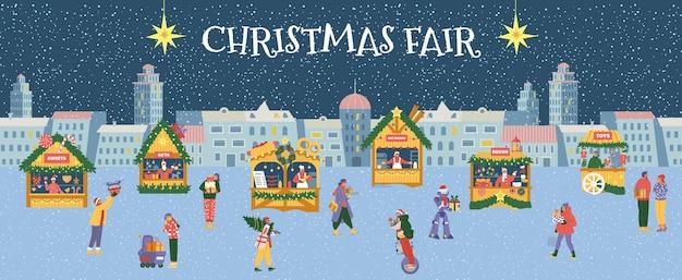 Banner de vector horizontal feria de navidad. paisaje de noche de invierno con gente y tiendas.