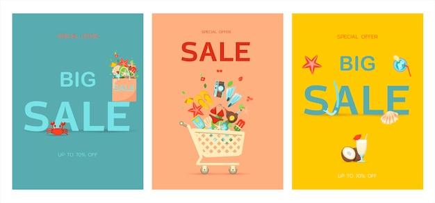Banner de vector para la ilustración plana de venta de verano de la plantilla de anuncio de descuento venta caliente de verano
