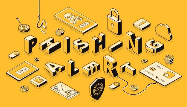 Banner de vector isométrico de alerta de phishing