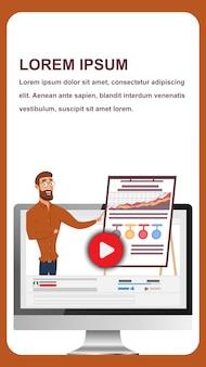 Banner vector man conduct business webinar en línea