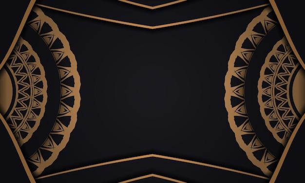 Banner de vector negro con adornos y lugar para su texto y logotipo. plantilla de fondo de diseño imprimible con patrones abstractos.