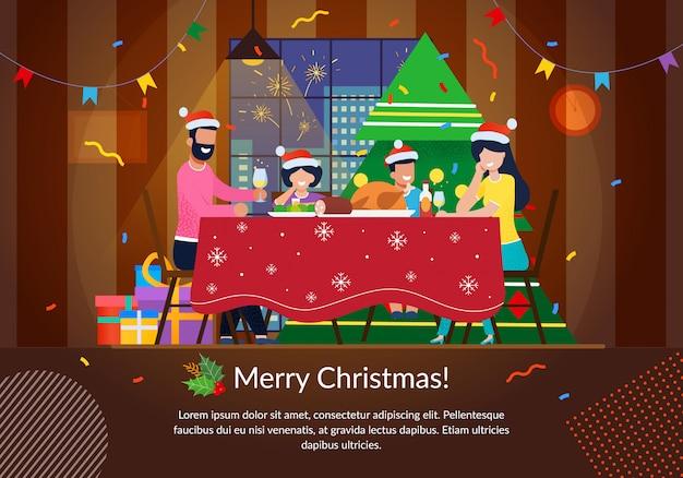 Banner de vector plano de celebración familiar de navidad