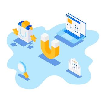 Banner de vector plano de retención de clientes con iconos