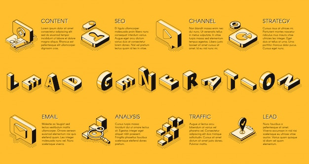 Banner de vector de proyección isométrica de estrategia de marketing de negocios de internet de generación de plomo