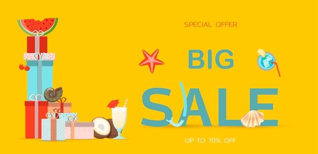 Banner de vector para la venta de verano una ilustración plana brillante de la plantilla de anuncio de temporada de descuento ...
