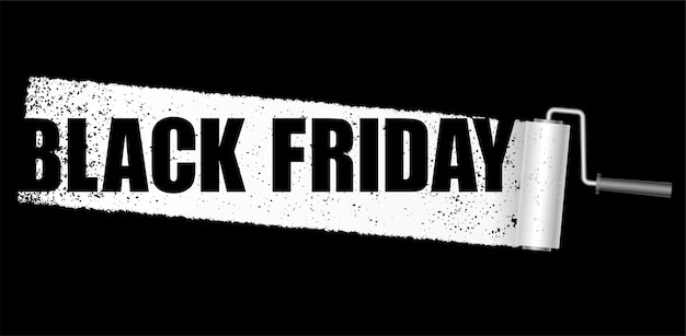 Banner de vector de viernes negro con un fondo de rodillo de pintura blanca aislado sobre fondo negro.